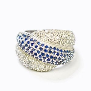 14k Diamond and Sapphire Cocktail Ring size 7